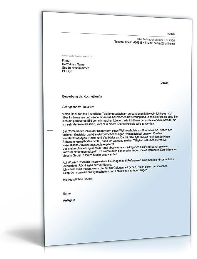 Anschreiben Bewerbung Kosmetikerin [Word Dokument]: Amazon.de: Software