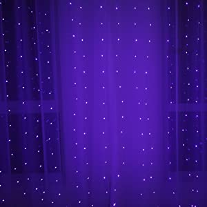 RENUS 10x5Ft Coppor Wire 450 LED Window Curtain Lights Indoor String Lights Party Christmas Xmas Wedding Home Garden Decorations 8 Modes for Flashing(Purple)