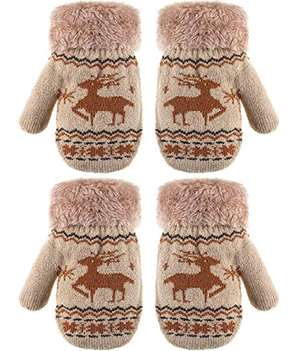 Baby Boys Girls Mittens for 0-3 years Kids Knit Gloves with Furry Lined&Cuff -2 Pair Pack 2478438011