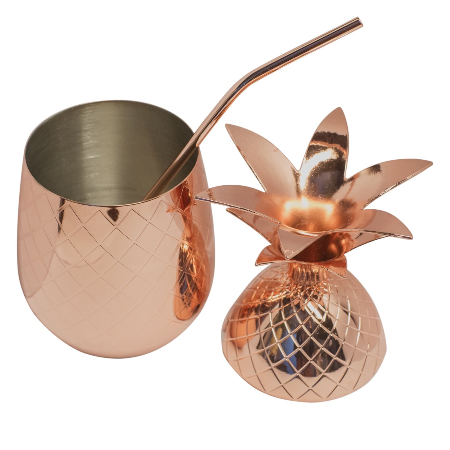 BonBon Copper Pineapple Cup 2-Pack Tumbler With Copper Straw, 17 OZ (Set of 2)