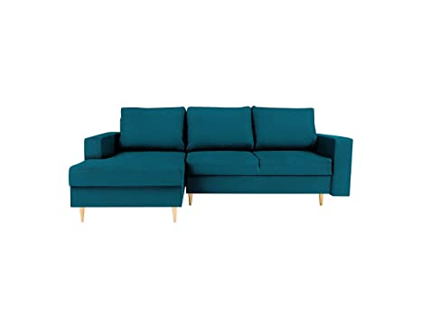 Mazzini Sofas sofá de Esquina, Tela, Turquesa, 225 x 145 x ...