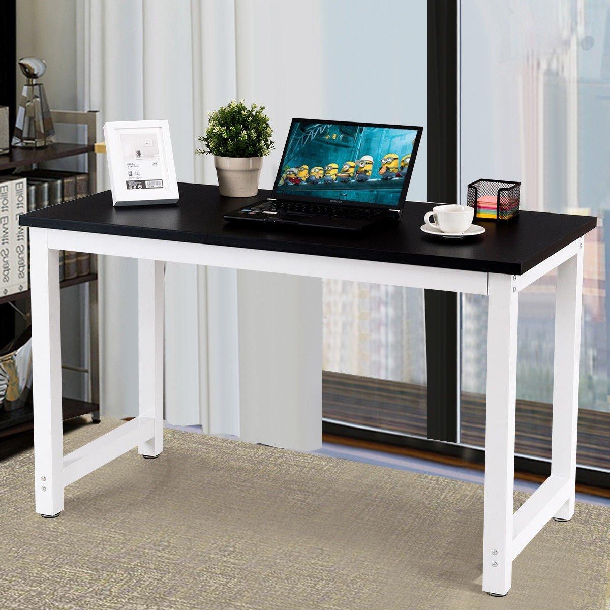 Amazon com chefjoy vd 53853hwbk computer desk pc laptop table wood workstation study home office furniture black kitchen dining