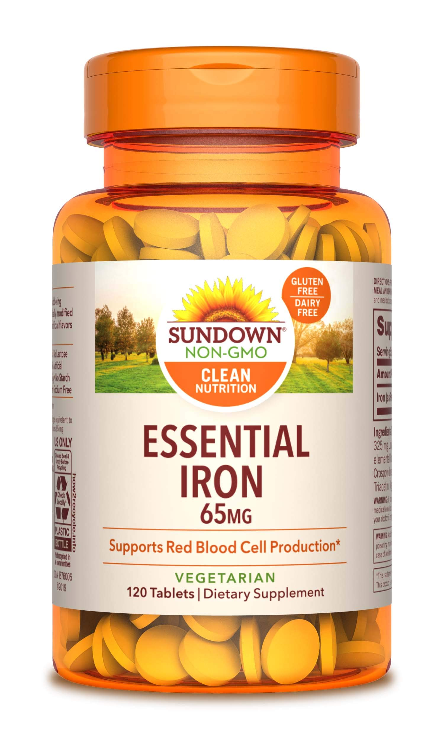 Sundown Iron Ferrous Sulfate 65 mg, 120 Count (Packaging May Vary)