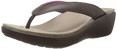sensation de confort vente usa en ligne date de sortie: Crocs - Capri en Cuir Flip Sandales Femme -, 38.5, Mahogany ...