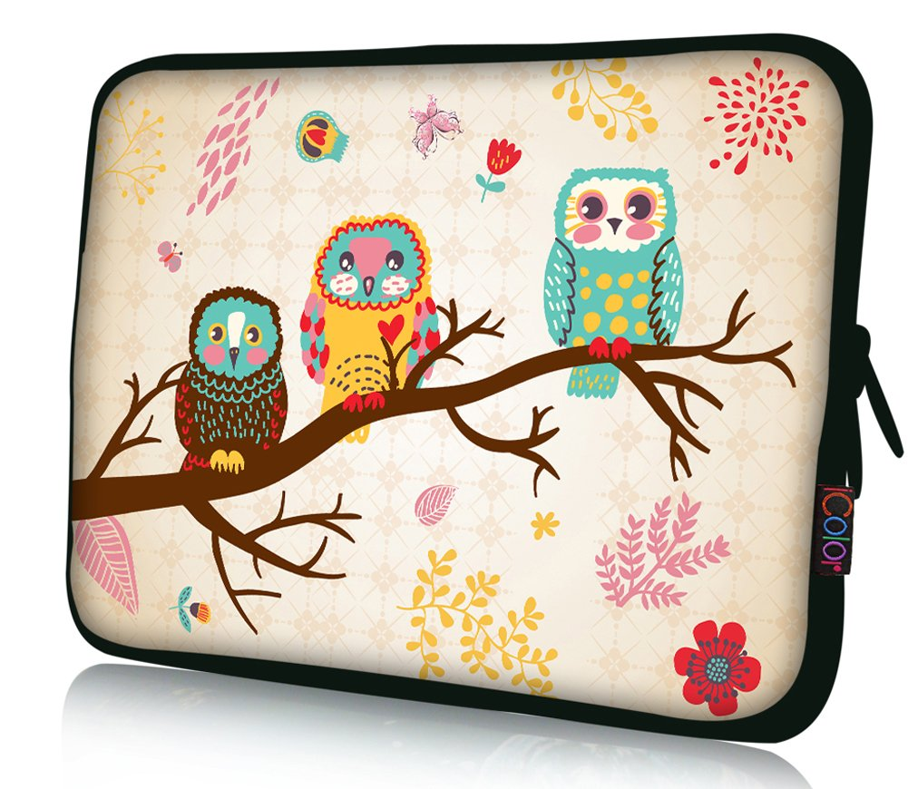 iColor 15'' Laptop Sleeve Bag Case 14.5'' 15.4'' 15.6'' inch Soft Neoprene Notebook Protection Sleeve Computer PC Cover Pouch Holder-Owl