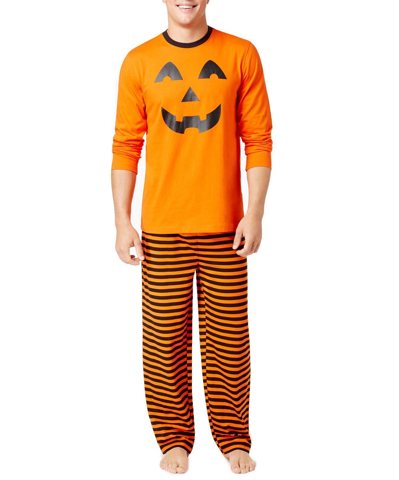 Family Pajamas Men's Pumpkin Pajama Set (XL, Pumpkin)