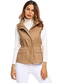 2e23963f565273 Chigant Damen Weste Winter Ärmellose Baumwolle Cargo Jacke Übergangsweste  mit 2 Taschen und Abnehmbarer Kapuze