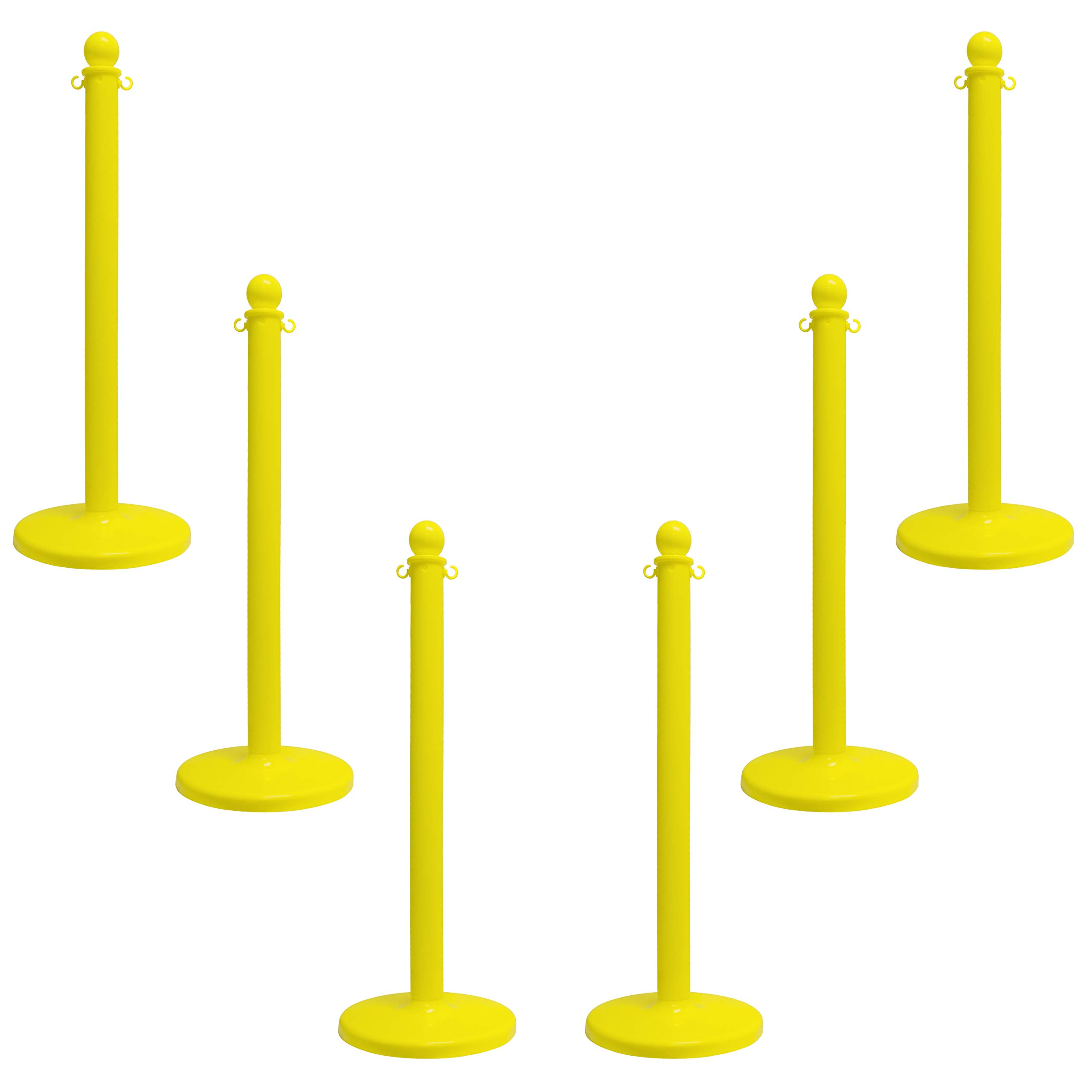 Mr. Chain 96402-6 Yellow Stanchion, 2.5'' link x 40'' Overall Height, Pack of 6