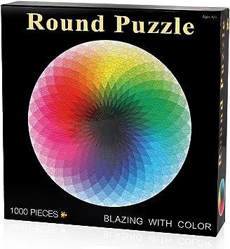 Coogam 1000 Piezas Redondo Puzzle Creativo Arco Iris Difícil Rompecabezas Grande Educativo El Alivio del Estrés Juguete para Adultos Niños: Amazon.es: Juguetes y juegos