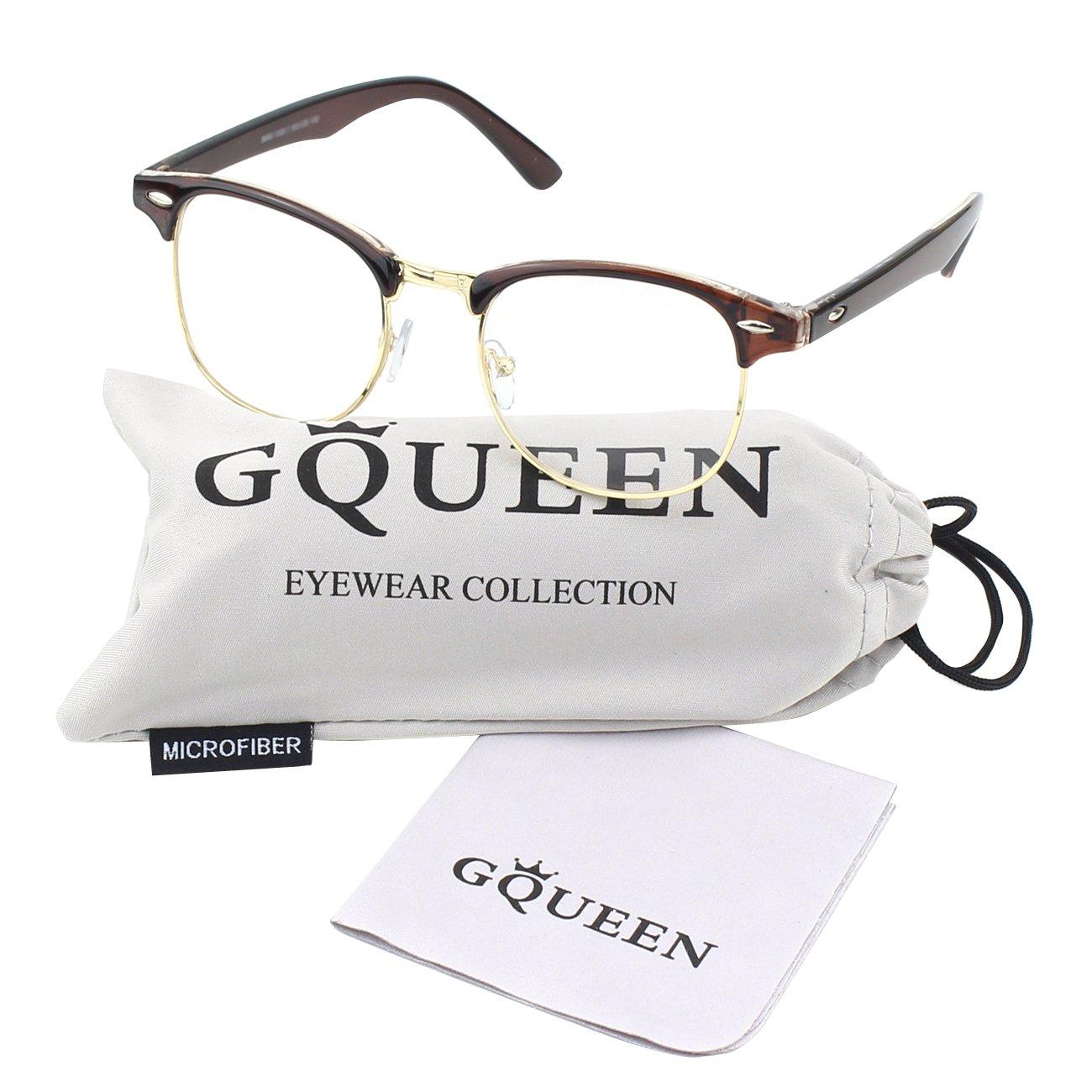 GQUEEN 201556 Vintage Inspired Classic Half Frame Nerd UV400 Clear Lens Glasses, Brown FBAGQ56c-02
