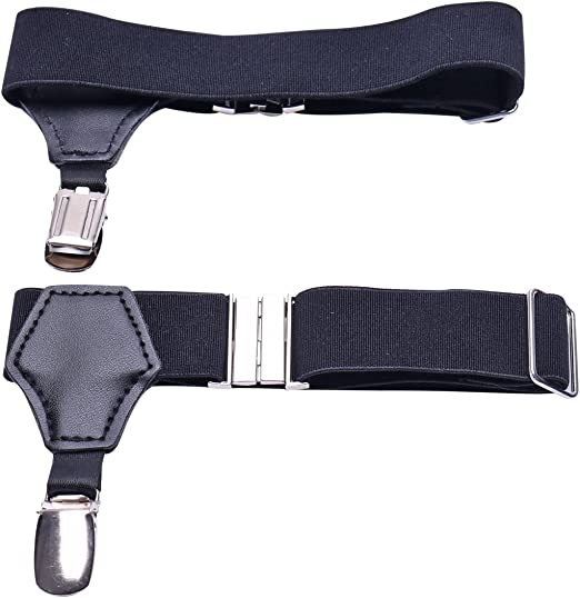 iEFiEL Mens Dress Shirt Stays Adjustable Garter Belts Non-slip Clamps