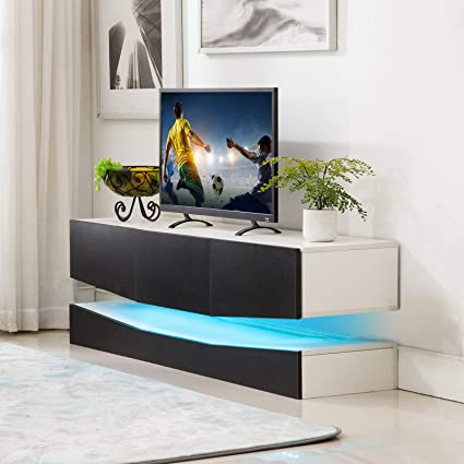 Amazon com: Mecor Floating TV Stand LED Lights, 47 Inch Wall