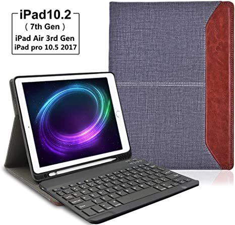 Lachesis Leather Business iPad 7th Gen Folio Case with Bluetooth Keyboard and Pencil Holder iPad 10.2 2019 Keyboard Case Denim Black Keyboard Case for iPad Air 3 10.5 2019//iPad Pro 10.5 2017