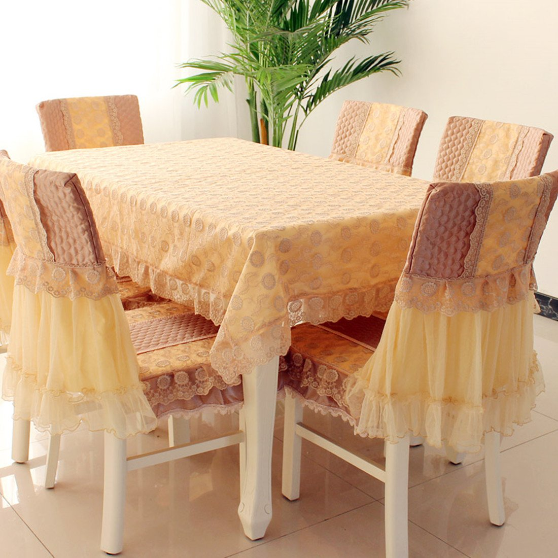 Country style yellow check lace rectangular tablecloths 59''78''(150 200cm) cream