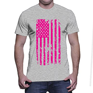 Mens Big Pink American Flag - Breast Cancer Awareness T-shirt ...