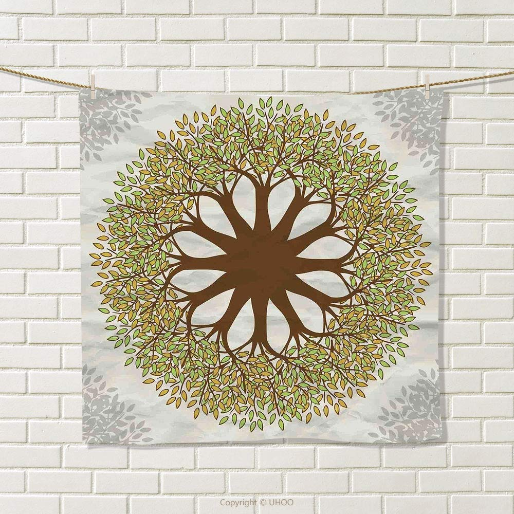 smallbeefly Tree of Life Hand Towel Indian Mandala Design with Leaves and Woods Round Shape Eastern Cultural Art Quick-Dry Towels Green Brown Size: W 20'' x L 21''
