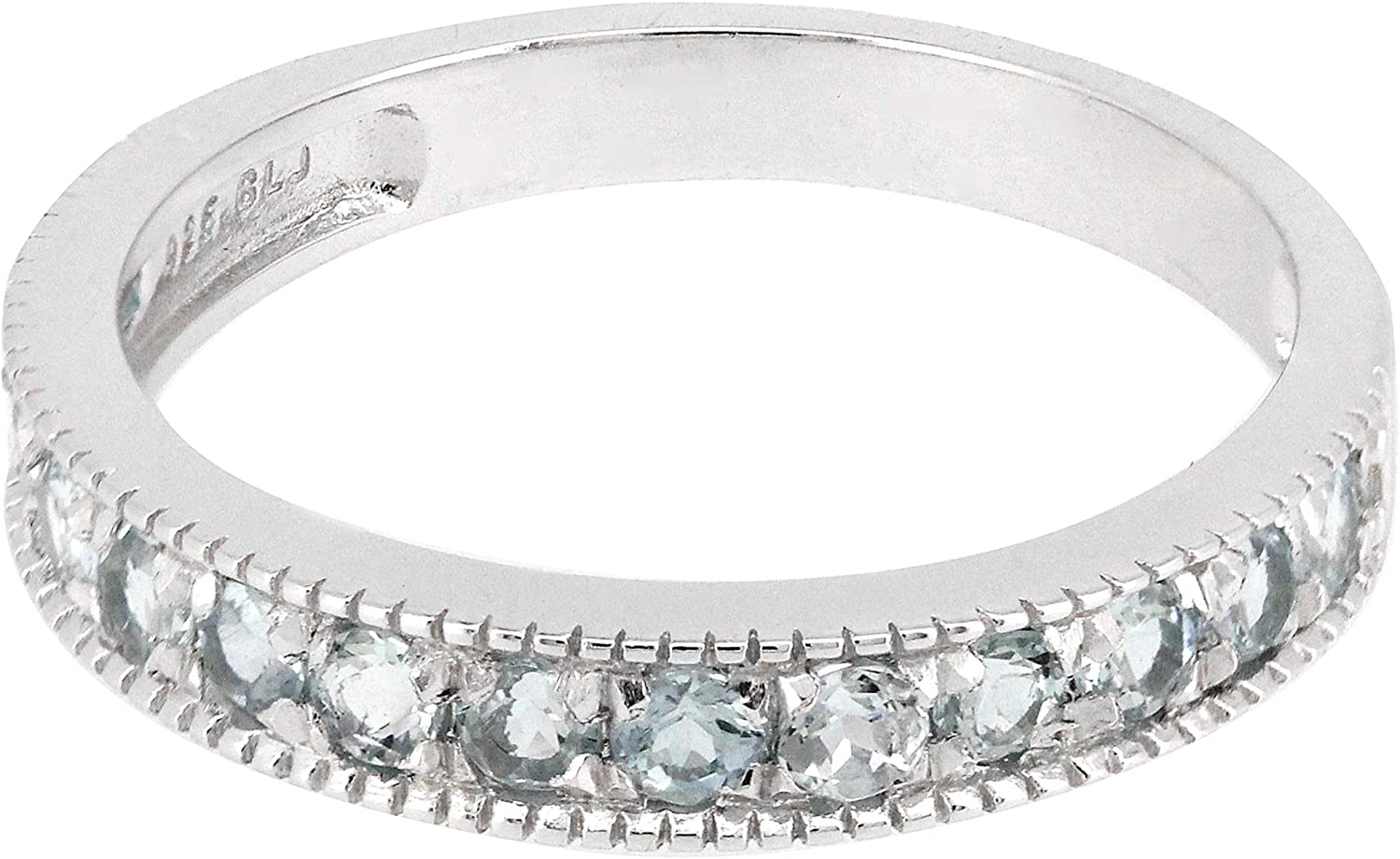 BL Jewelry Sterling Silver Round Genuine Natural Gemstone Stackable Half Eternity Band Ring