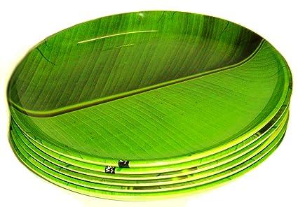 Smart Dinning Melamine Banana Leaf Dinner Plate Set of 6 Green  sc 1 st  Amazon.in & Buy Smart Dinning Melamine Banana Leaf Dinner Plate Set of 6 Green ...