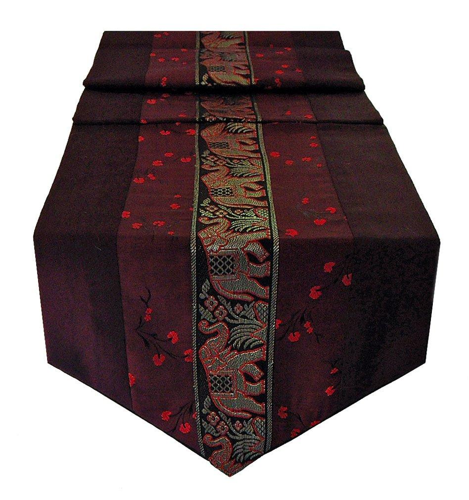 Table Runner Thai Silk & Cotton - Burgandy Color by Mr. Thai, Apple, Prince, S & T Design