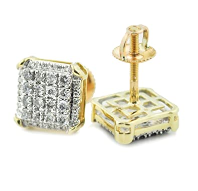 613e6b220b181 Amazon.com: 10K Gold Diamond Earrings 0.45ctw Mens or Womnes 10mm ...