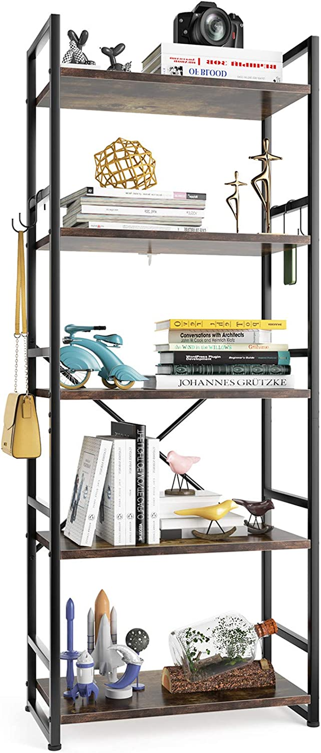5-Tier Bookshelf, HAIOOU Industrial Bookcase, Sturdy Antique Wood Design with Black Metal Frame Shelving Unit, Vintage Storage Organizer Standing Shelf for Home Office