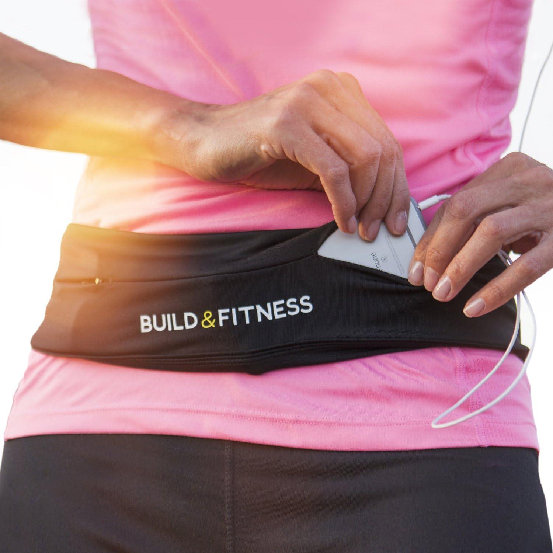 Cinturón de correr y aptitud cinturón con clip para llaves, adapta tu iPhone 6,7,8 plus,X,XS.Samsung's. Unisexo. Para Gimnasio Entrenamiento, Ejercicio, Ciclismo, Caminar, Correr, Yoga