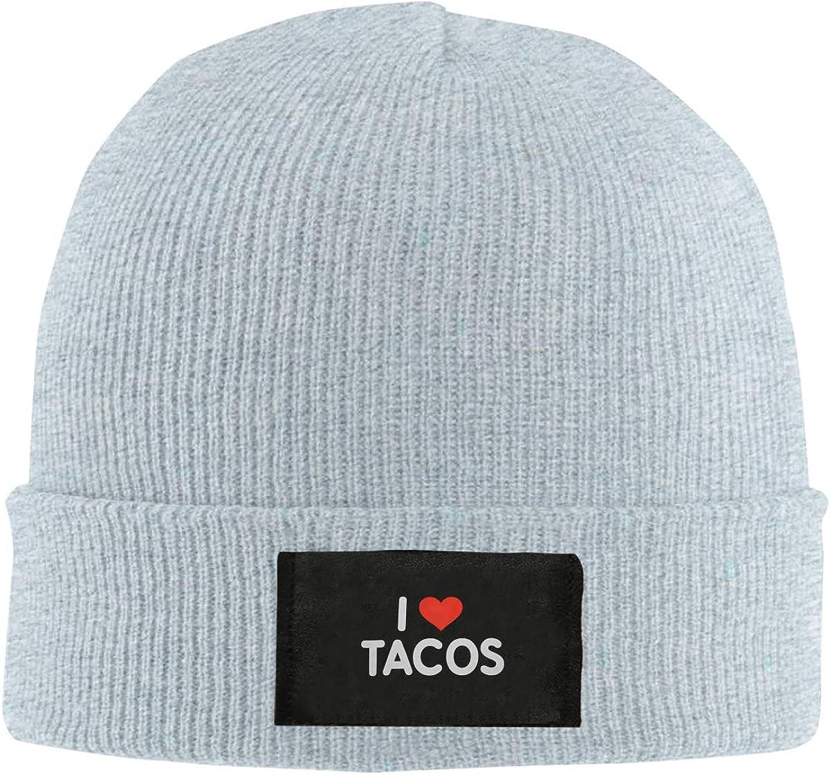 Unisex Stylish Slouch Beanie Hats Black I Love Tacos Top Level Beanie Men Women