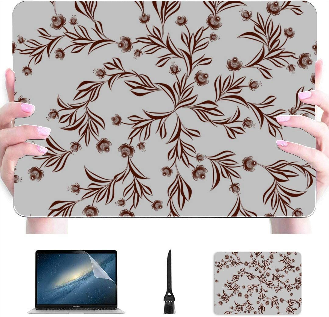 Laptop Cover Round Blue Folk Flower Ornament Plastic Hard Shell Compatible Mac Laptop Hard Case Protection Accessories for MacBook with Mouse Pad