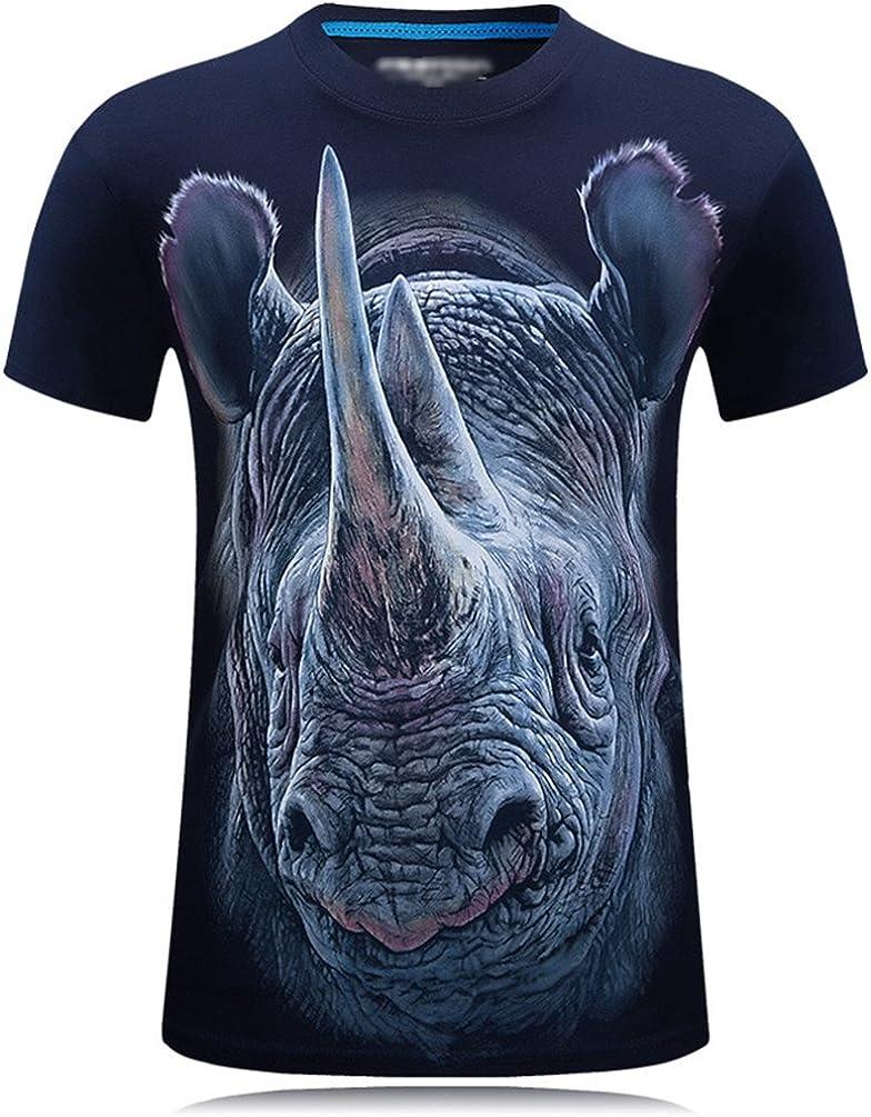 Cayuan T-Shirt Hombre 3D Rhino Gráficos Camisetas de Manga ...