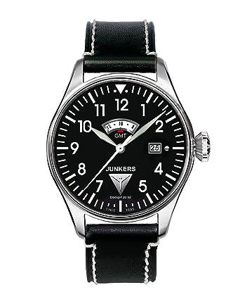 Junkers 61402 - Reloj analógico de cuarzo para hombre con correa de piel, color negro: Amazon.es: Relojes