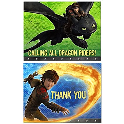 Amazon Com How To Train Your Dragon 2 Party Invitations Thank