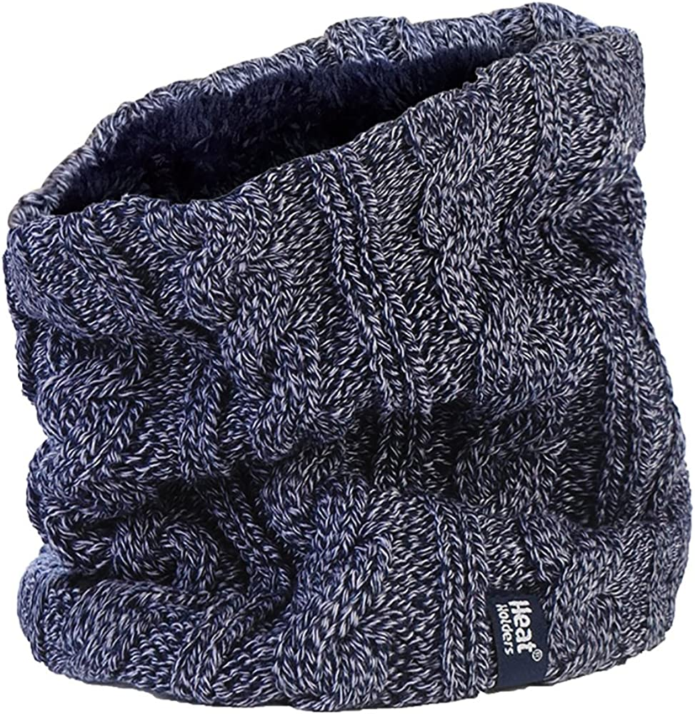 Women's Heat Holders Thermal 3.4 tog Fleece Cable knit Snood Scarf Neck Warmer