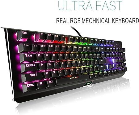Teclado mecánico con interruptores azules, retroiluminado en arco iris, teclado para juegos de 104 teclas con efectos de iluminación predefinidos y ...