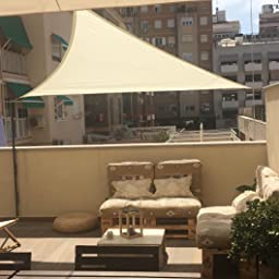 SUNNY GUARD Toldo Vela de Sombra Triangular 3x3x3m Impermeable a Prueba de Viento protección UV para Patio, Exteriores, Jardín, Color Antracita: Amazon.es: Jardín