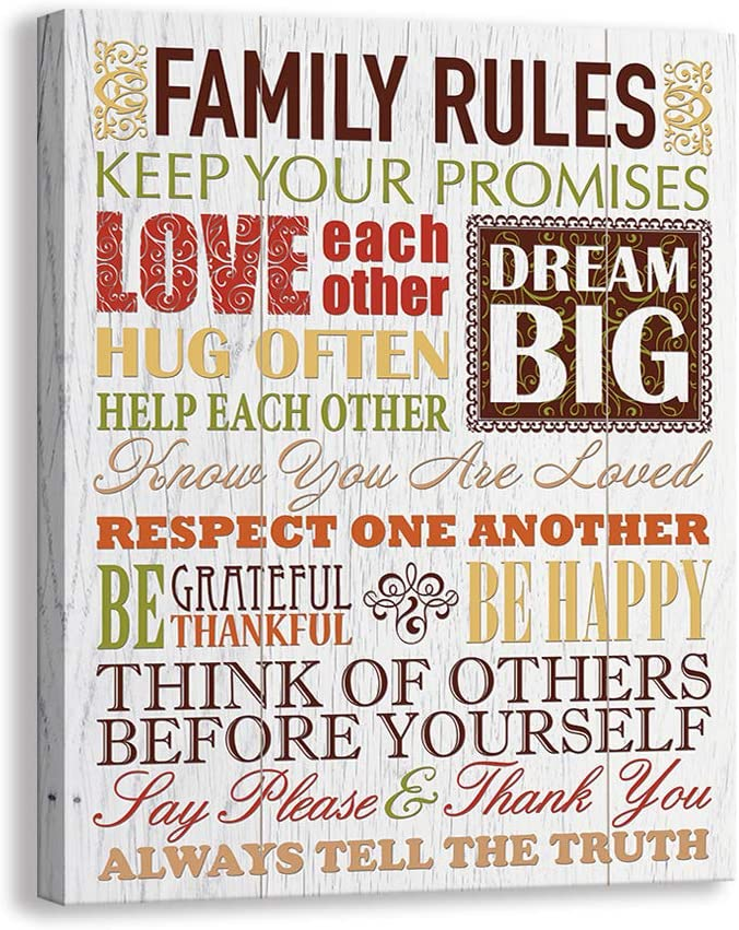 Inspirational Motto Canvas Wall Art,Family Prints Signs Framed, Retro Artwork Decoration for Bedroom, Living Room, Home Wall Decor (12 x 15 inch, Rules - B)