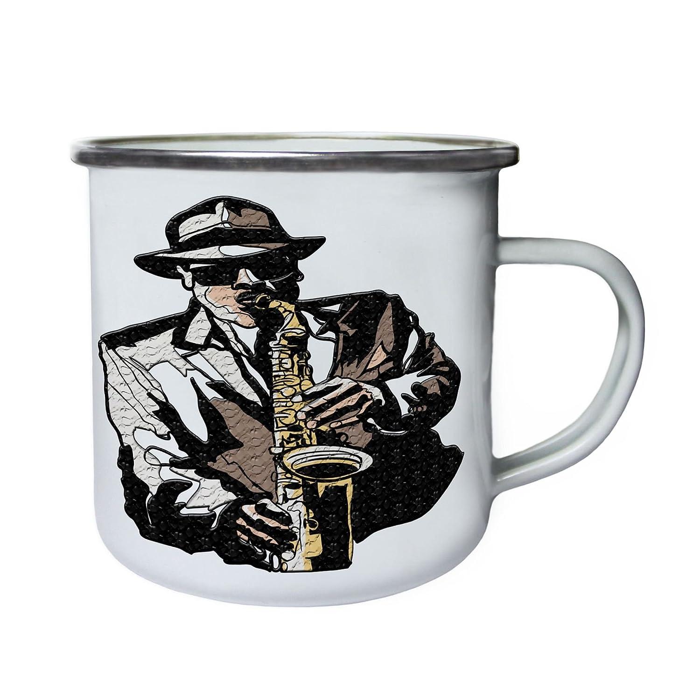 Saxophone City Blues Jazz Music Retro, lata, taza del esmalte 10oz/280ml z325e INNOGLEN