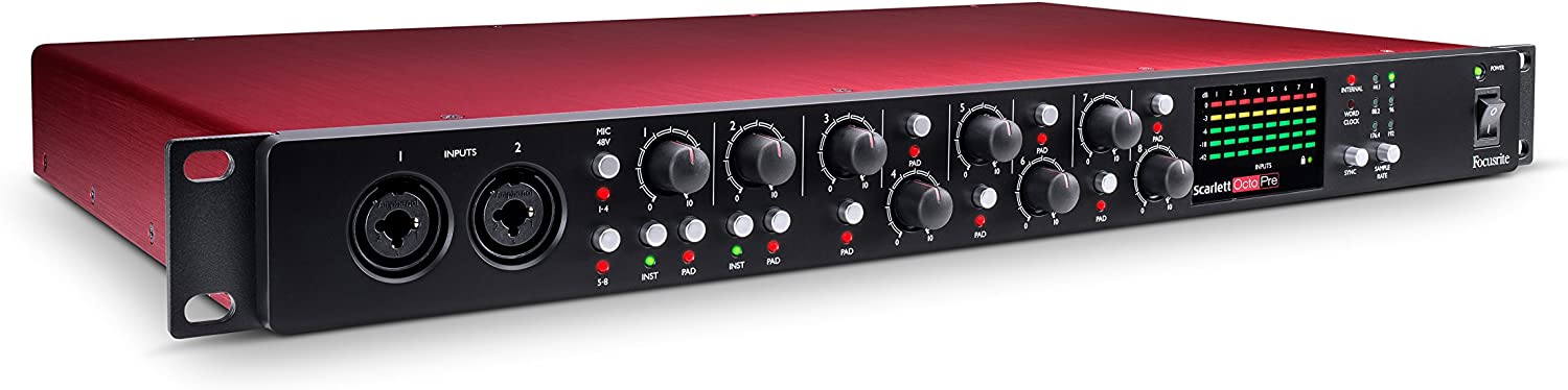 Focusrite Scarlett OctoPre 8-Channel Mic Pre Expansion with 8 ADAT Inputs/8 Analog Outputs