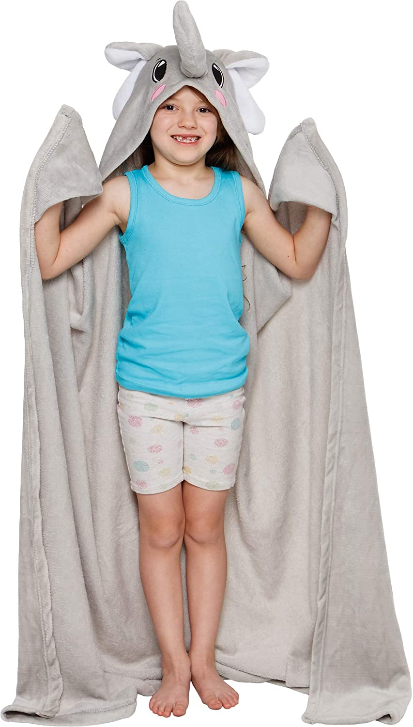 Silver Lilly Elephant Wearable Hooded Blanket - Soft Fleece Animal Wrap Around Dress-Up Costume Throw Blanket Cloak for Kids