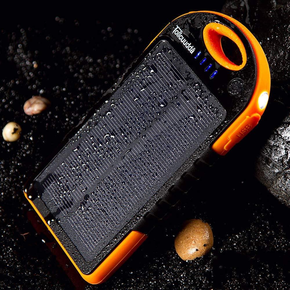 Hokaime Solar Charger Power Bank Protable Cell-Batteria del Telefono, Portatile 20000mAh Dual USB Mobile Solare Power Bank Blue