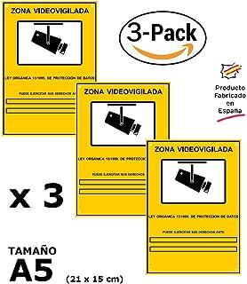 Pack o Lote de 3 Carteles Zona Videovigilada A5 interior/exterior, Carteles…
