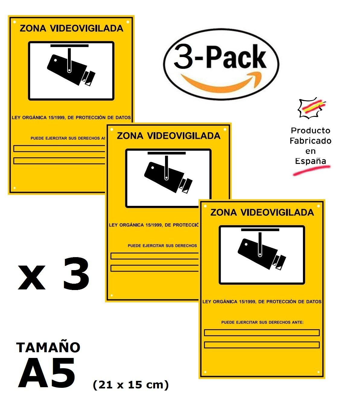 ▷ Pack o Lote de 3 Carteles Zona Videovigilada A5 interior/exterior, Carteles Disuasorios PVC expandido, Placa Disuasoria 21x15 cm, amarillo ◁: Amazon.es: ...