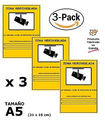 ▶ Pack o Lote de 3 Carteles Zona Videovigilada A5 interior/exterior, Carteles Disuasorios PVC expandido, Placa Disuasoria 21x15 cm, amarillo ◀