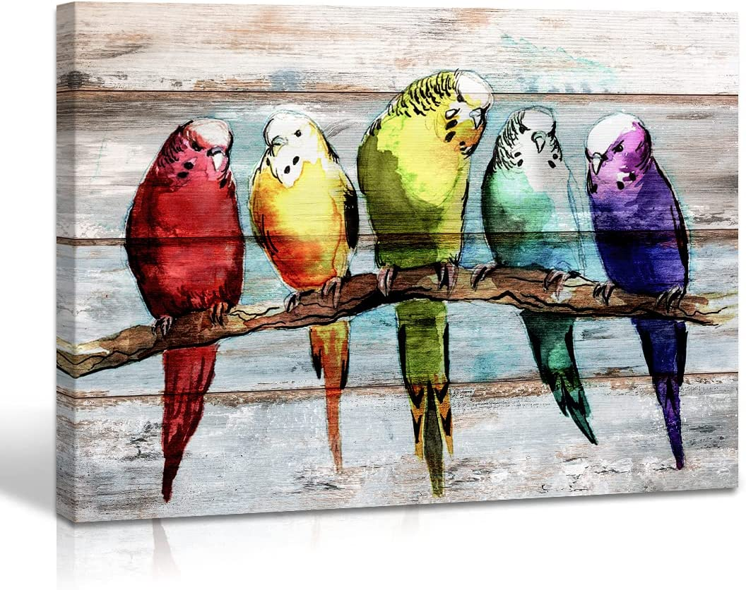 Vintage Wall Art Colourful Flying Birds Wall Decor Painting Canvas Print Watercolor Animal on the Branches Picture Canvas Walls Decor Artwork for Home Office Bathroom Decorations 12x16 Inches Framed