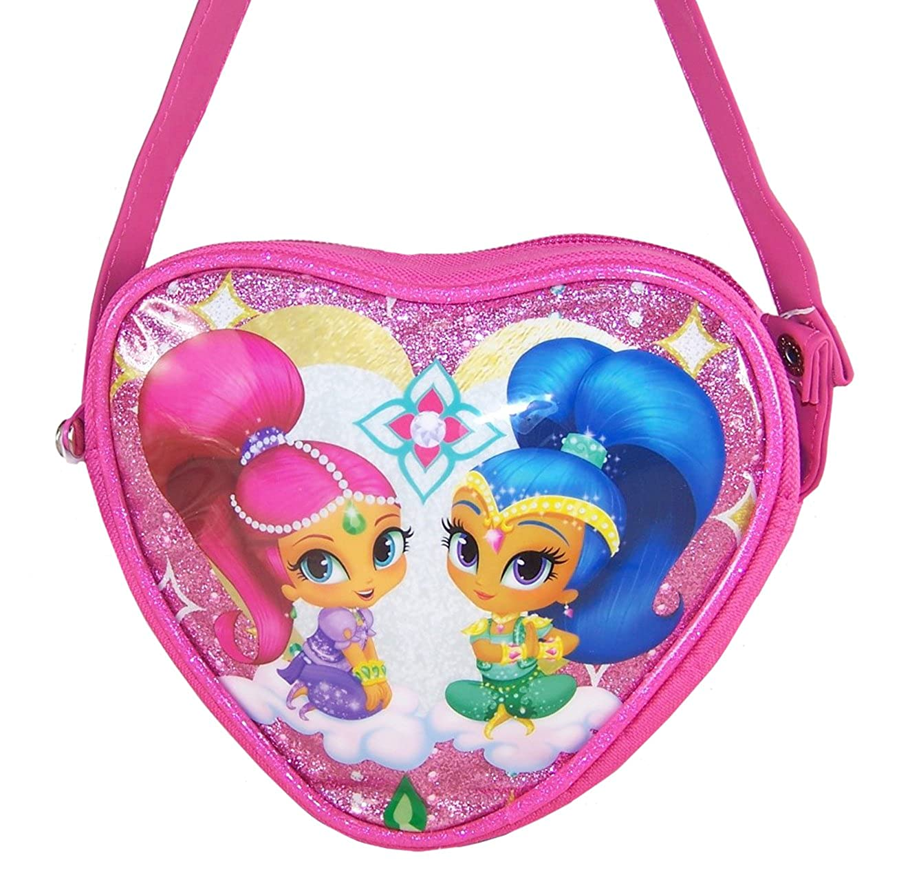 Girls childrens Shimmer and Shine character heart shaped sparkly pink over body bag dressing up holidays party shimmerheartbag