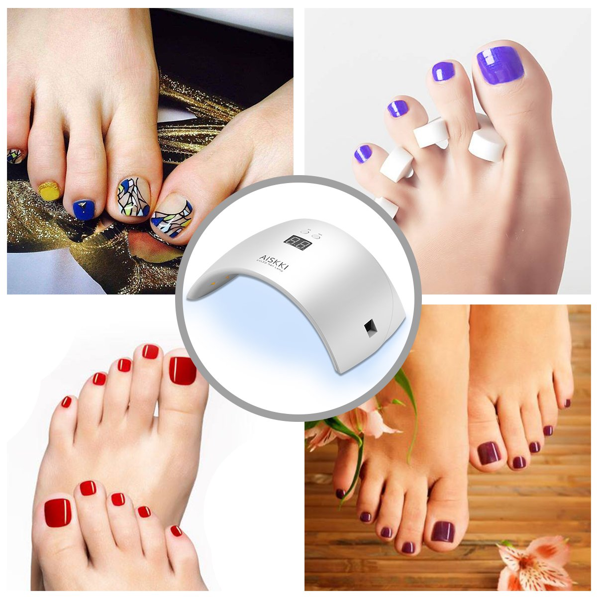 UV LED Nageltrockner, Aiskki LED UV Nagellampe für Hände und Füße ...