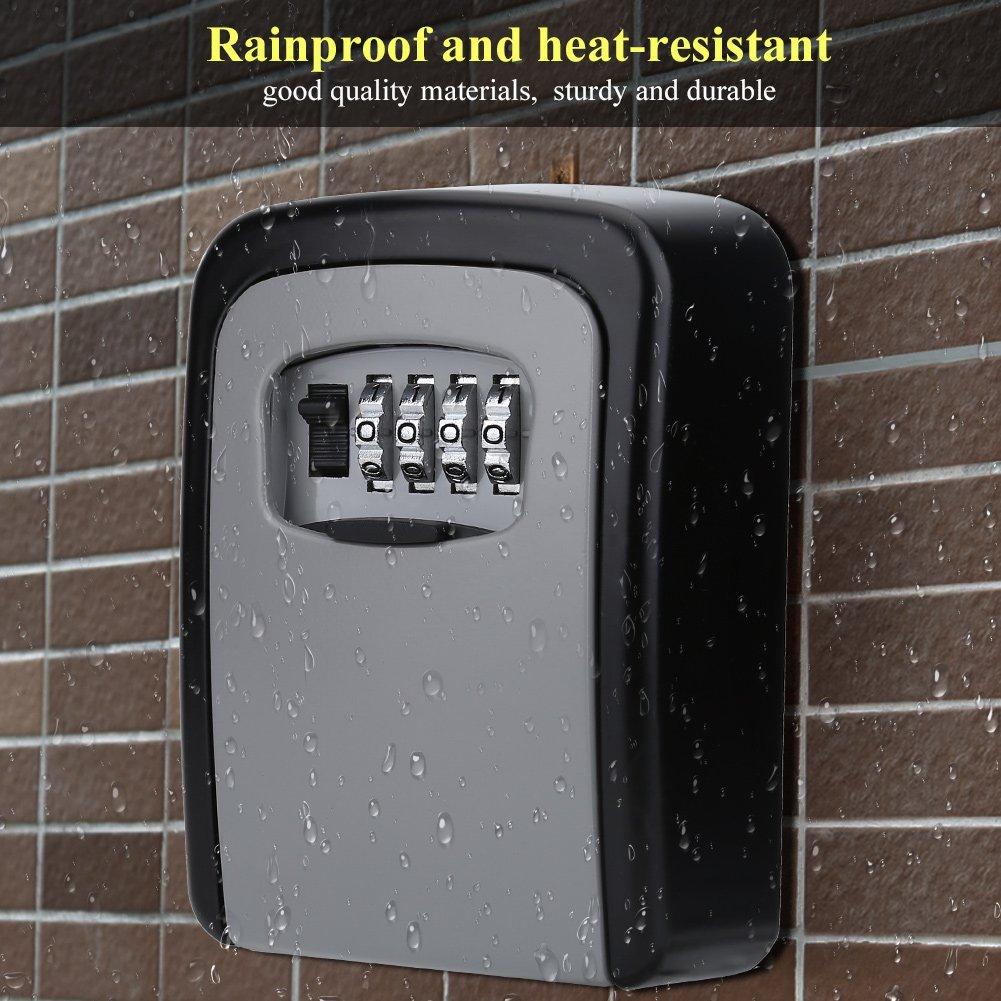 Vbestlife Key Storage Wall Mount Lock Box,4 Digit Combination Password Key Safety Code Keys Holder Storage Lock Box Case-Business Commercial Key Solid Lockbox for Indoor Outdoor by Vbestlife (Image #2)