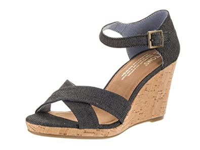 2b736074a91 TOMS Women s Sienna Wedge Black Denim 7.5 ...