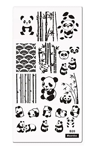 amazon com mezerdoo 1pc rectangle stamp template nail plates panda