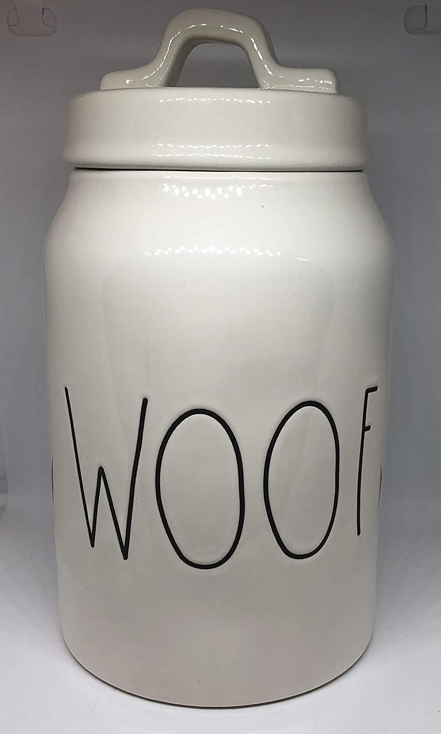 Rae Dunn WOOF LL Dog Treat Food Canister White Ceramic With Lid