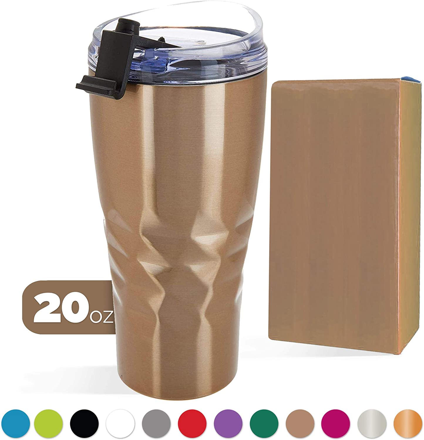 Primula Peak Hot or Cold Vacuum Sealed Triple Layer Copper Technology Tumbler with Matching Colored Gift Box • 20 Ounce • Champagne